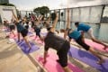 Celebrity yogi Tara Stiles leads a group yoga session at W Hotel Hong Kong.