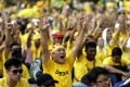 Malaysian protesters chant during a Bersih (the local word for clean) anti-government rally in Kuala Lumpur. Photo: EPA