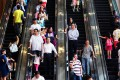 Shoppers are pictured crammed on to escalators in Causeway Bay. Photo: SCMP Pictures