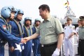 President Xi Jinping meets navy personnel in Sanya. PLA reform will boost the navy's role relative to the army's. Photo: Xinhua