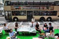 Members of various green groups promoting their plan for a pedestrian zone in Central. Photo: Bruce Yan