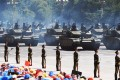 Battle tanks join the military parade in Beijing. Photo: AFP