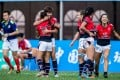 Hong Kong women celebrate after their victory over China in the Qingdao leg of the Asia Sevens Series. Photos: HKRU