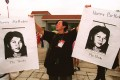 An Amnesty International activist holds photos of then-imprisoned Ma Thida at a birthday party organised in her honour by the NGO at the Fourth World Conference on Women, in Beijing, in 1995. Photos: Khin Mg Win; AFP