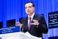 Premier Li Keqiang speaking at the World Economic Forum. Photo: Xinhua