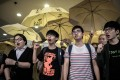 Occupy Central's student leaders. The movement was a defining moment for Hong Kong's youth who forced this non-stop city to a standstill. Photo: AFP