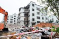 A building lies destroyed in Liucheng county in Guangxi after a series of parcel bomb explosions. Photo: Kyodo