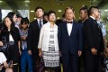Donald Tsang and his wife Selina Tsang outside Eastern Court. Photo: Sam Tsang
