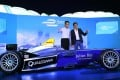 Chief Executive Leung Chun-ying with FIA Formula E champion Nelson Piquet Jnr at the launch in Central of Hong Kong's hosting of a leg of the series. Photo: Edmond So