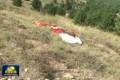 The pilot's parachute at the crash site. Photo: CCTV