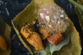 Sea urchin with fig, nori cracker, oyster leaf and ponzu foam, at Mercedes me.