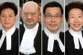 Former magistrate Symon Wong Yu-wing (from left) accused Chief Justice Geoffrey Ma Tao-li, Chief Magistrate Clement Lee Hing-nin, and Principal Magistrate Bernadette Woo Huey-fang of perverting the course of justice. Photos: SCMP