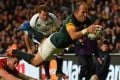 South Africa scrum-half and captain Fourie du Preez scores the match-winner against Wales in their Rugby World Cup quarter-final at Twickenham on Saturday. Photo: AFP