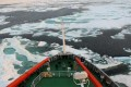 View from the bridge of a Chinese ice-breaking vessel at work in the Arctic. Photo: Xinhua