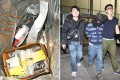The pair (one pictured right) pleaded guilty to possessing the explosive, which was made of arsenic sulphide and potassium (left). Photos: SCMP Pictures