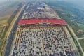 A traffic jam to end all traffic jams near a toll station in Beijing last month. Photo: Reuters