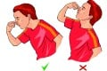 The right and wrong way to stem a nosebleed. Illustration: Corbis