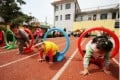 A file picture of a running track at a kindergarten in China. The tracks alleged to have made the children ill in Shanghai were made from a form of plastic.