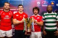 The captains of Hong Kong, Russia, Portugal and Zimbabwe pose with the Cup of Nations trophy. Photo: HKRU