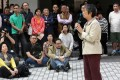 Alumni including Margaret Ng Ngoi-yee (with mic) spoke on campus to vent their concerns. Photo: Jonathan Wong