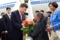 President Xi Jinping is welcomed in Pretoria yesterday as he begins his state visit to South Africa.Photo: EPA