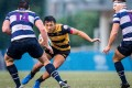 Erik Kwok Pak-nga (centre) is one of only a few Hong Kong Warriors senior squad members with experience in the HKRU Premiership where he plays on the wing for USRC Tigers. Photos: HKRU