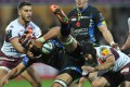 Clermont flanker Fritz Lee is tackled by the Bordeaux-Bègles defence during their European Rugby Champions Cup clash at Stade Michelin in Clermont-Ferrand on Sunday. Photo: AFP