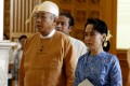 Htin Kyaw (left) and Aung San Suu Kyi arrive to attend a session of Myanmar Union Parliament in Nay Pyi Taw, Myanmar. Photo: Xinhua
