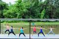 A yoga class at Museflower Retreat & Spa, in Chiang Rai.