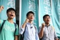 Nathan Law Kwun-chung (middle) is one of Hong Kong's newest lawmakers. Photo: Sam Tsang / SCMP