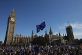A demonstrator flies an EU flag outside the Houses of Parliament, during a rally following an anti Brexit, pro-European Union (EU) march in London, ahead of the British government's planned triggering of Article 50. Photo: AFP/Daniel LEAL-OLIVAS