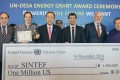 """The Guests at the """"UN-CEFC Energy Grant"""" Ceremony are (From left to right): Mr. Wu Hongbo, United Nations Under-Secretary-General for Economic and Social Affairs; Alexandra Bech Gjorv, CEO of SINTEF; Ban Ki-moon, UN Secretary-General; Moez – Jomâa, Research Scientist from SINTEF; H.E. Mr. Peter Thomson, President of the seventy-first session of the United Nations General Assembly; Dr. Patrick Ho, Secretary-General of the China Energy Fund Committee (Photo taken by Johannes Berg, NTB Production)"""
