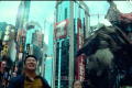 The red-and-white logo of JD.com appears on a building in the film. (Picture: Pacific Rim Uprising trailer)