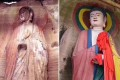 The garish restoration job of a Buddhist sculpture in Anyue township, Sichuan province. Photo: ThePaper.cn