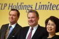 (L to R) Geert Peeters, group director and chief financial officer; Richard Lancaster, chief executive officer of CLP Holdings Limited and Betty Yuen So Siu-mei, vice chairman of CLP Power Hong Kong Limited, pose for a photograph during CLP Holdings Limited 2015 Interim Results at Kowloon Shangri-La in Tsim Sha Tsui. Photo: Sam Tsang