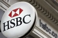 The logo of HSBC is seen outside a branch in London. Photo: AFP