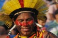 PALMAS, Oct. 28, 2015 (Xinhua) -- An indigenous person smiles during the first World Indigenous People Games, in Palmas, state of Tocantins, Brazil, on Oct. 27, 2015. The World Indigenous People Games will be held until Oct. 31 with the participation of 1,800 indigenous athletes of which 1,100 are Brazilian ethnicities and other 700 came from 23 countries.
