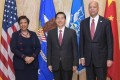 Guo Shengkun, China's State Councillor and Minister of Public Security (centre) with US Attorney General Loretta Lynch (left) and Secretary of Homeland Security Jeh Johnson on Monday before the China-US ministerial talks on fighting cybercrime. Photo: Xinhua