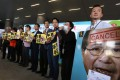 Lawmakers hold placards protesting against the Territory-wide System Assessment outside the Legco Building in Tamar last month. Photo: Jonathan Wong