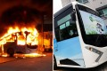Hong Kong's protoype electric bus on fire Photo: Supplied