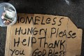A homeless man's sign. In the past five years New York's homeless population has ballooned from approximately 38,000 in October of 2010 to over 59,500 in October of 2015, according to Coalition for the Homeless. Photo: AFP