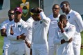 West Indies players look glum at the end of a chastening series after the third and final test match ended in a draw. Photo: AFP