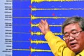 Ko Yun-hwa, of the Korea Meteorological Administration, points to seismic waves observed in South Korea, during North Korea's test of a hydrogen bomb, January 6, 2016. Photo: Reuters