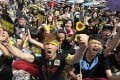Demonstrators taking part in the Sunflower movement shout slogans in front of the Presidential Office in Taipei in 2014. Young Taiwanese are much more politically active than their forbears. Photo: Reuters