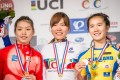 Ma Yin-yu collects her bronze medal in the junior time trial. Photos: JFC