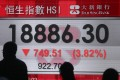 The Hang Seng Index plunged 3.8 per cent, or 749 points, to 18,886 on Wednesday. Photo: Sam Tsang
