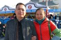 Liu Mei (right) and her husband, Chu Yangjian, wait to board their train home at the Foshan train stationon Monday. Photo: Gloria Chan
