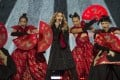 Madonna performing with dancers in Mexico City on her current tour. Photo: AP