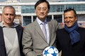 Zhang Dazhong with Jose Mourinho and 'super-agent' Jorge Mendes at Alisports HQ. Photo: Alisports