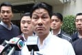 Junior Police Officers' Association chairman Joe Chan (centre) spoke before the media on Thursday. Photo: SCMP Pictures